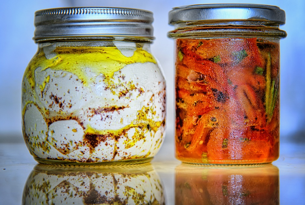 GLF labaneh = red peppers jars, by Karen Bekker